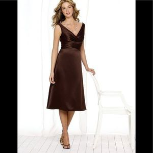 After Six Tea Length Bordeaux V Satin Dress 8